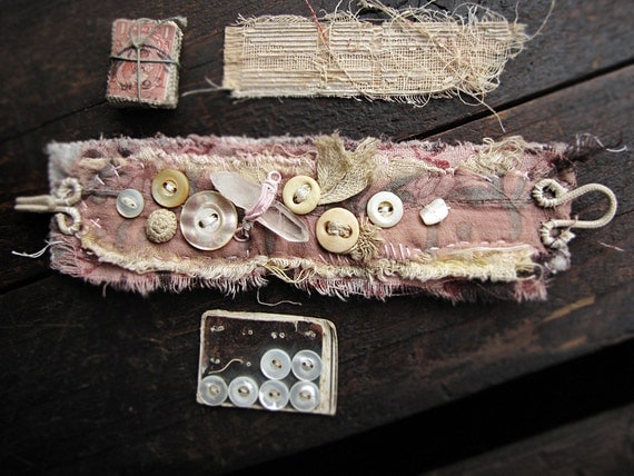 Self Reliance - vintage textile wrist cuff - vintage lace - antique buttons - quartz crystal