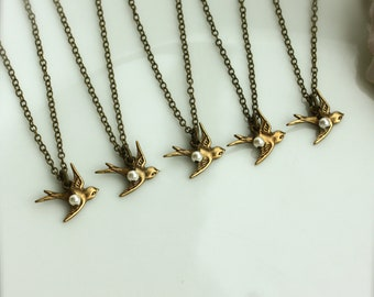 Set of 5, Five Tiny Brass Flying Swallow Bird with Pearl Necklace.  Mother Daughters. 5 Sisters. Best Friends. Family. Seniors Graduation.