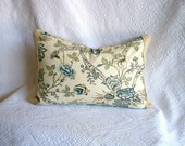 French Country Home Decorative Pillow Cover Blue Floral With Vintage Grainsack