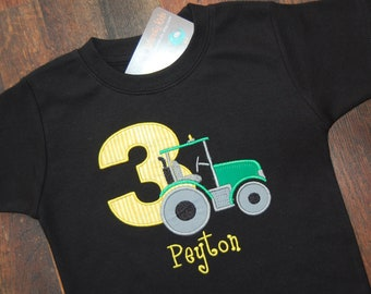 Tractor Birthday Shirt, Tactor with Number, Boys Birthday Shirt, Monogrammed