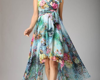 Wedding dress Maxi Dress  Blue Floral Print Prom dress (640)