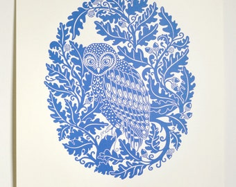 Owl in Oak (Dusk/Dawn) - Limited edition one-colour screenprint