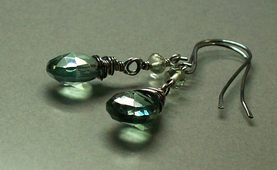 Green Quartz Sterling Silver Earrings Amethyst Wire Wrapped