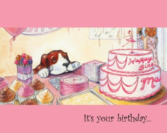Birthday Card with Adorable Dog tempted by Sweets