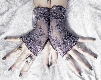 Euphrasie Long Lace Fingerless Gloves - Dark Plum Aubergine & Violet Lavender Floral - Gothic Wedding Fetish Tribal Bellydance Goth Bridal