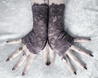 Inessa Lace Fingerless Gloves - Dark Charcoal Grey Floral - Gothic Vampire Regency Tribal Goth Austen Bridal Fetish Bridesmaid Purple Plum