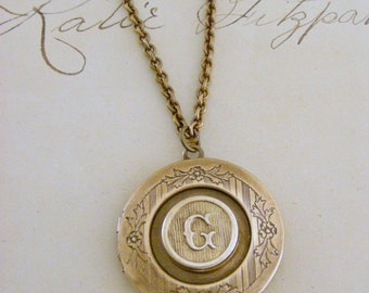 Locket Necklace - Initial G - Letter G - Vintage Brass Jewelry - Personalized Necklace - ALL LETTERS - handmade jewelry Personalized Jewelry