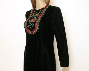 Vintage 1970s Maxi Dress Embroidered Black Velvet Caftan Long Dress / Small