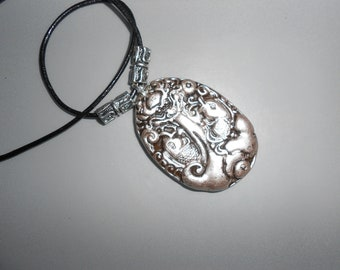 "Jade Dragon & Fish Pendant Silvered Detail Beautifully Carved In High Relief  ""Gift Wrapped"""