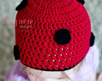 CROCHET PATTERN - Little Buggy or Ladybug / Ladybird Hat - Sizes from Preemie or doll to Adults - PDF 106 - Sell what you Make