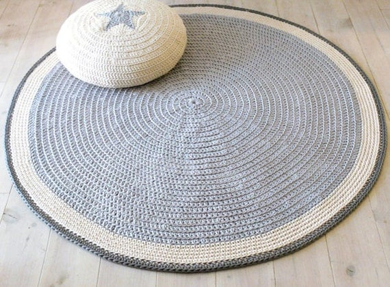 plancher de tapis rond au crochet 100cm. Black Bedroom Furniture Sets. Home Design Ideas