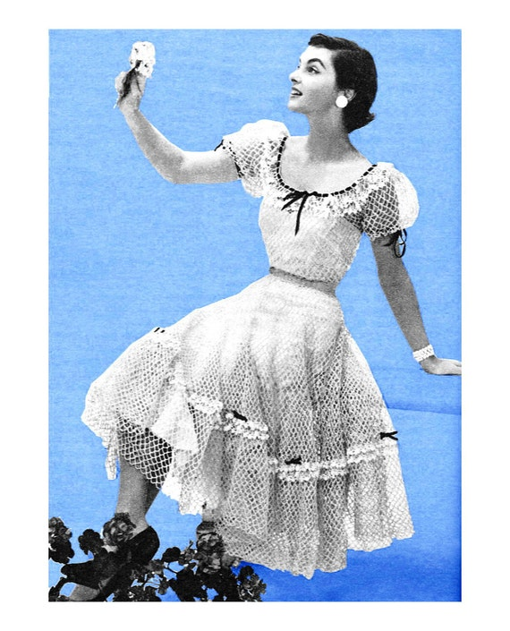 Vintage Crochet Pattern 1950s Sexy Peasant Patio Dress Peek A Boo Lacy Digital PDF