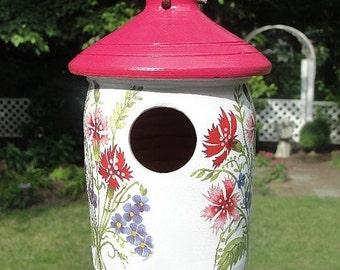 Wildflower Ceramic Birdhouse,  Painted Pottery
