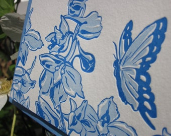 Butterfly and Delphinium - Letterpress notecards - blank - set of 6
