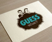 """Unusual printable invitation suites / retro engagement invitations / vintage speakeasy style / teal and brown / """"Guess what"""""""