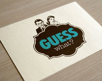 "Unusual printable invitation suites / retro engagement invitations / vintage speakeasy style / teal and brown / ""Guess what"""