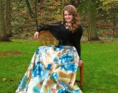 Floral satin maxi skirt. Elegant gold and teal with handmade embellishments. LAST ONE