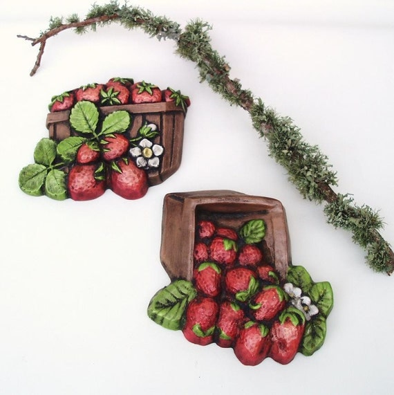 Retro Kitchen Wall Decor: Vintage Wall Decor Chalkware Kitchen Wall Plaques Fruit Wall