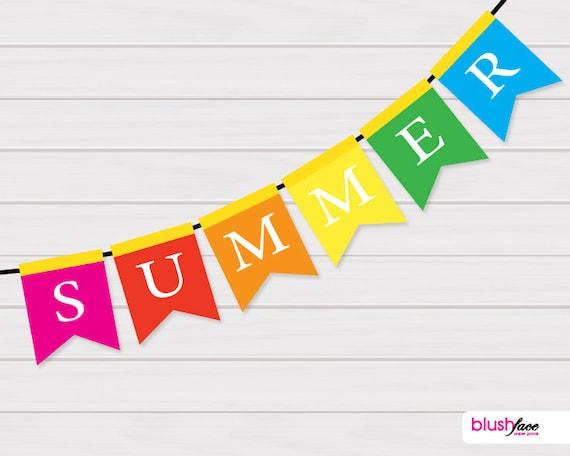 items similar to june special instant download summer bunting banner bold colors. Black Bedroom Furniture Sets. Home Design Ideas