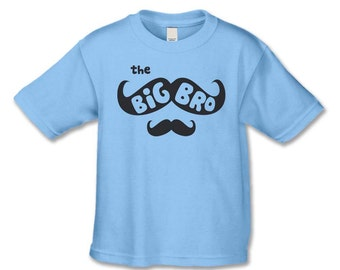Big Brother Shirt -The Mustache Big Bro T-Shirt - Pregnancy  Announcement - Mustache Baby Shower - Big Brother