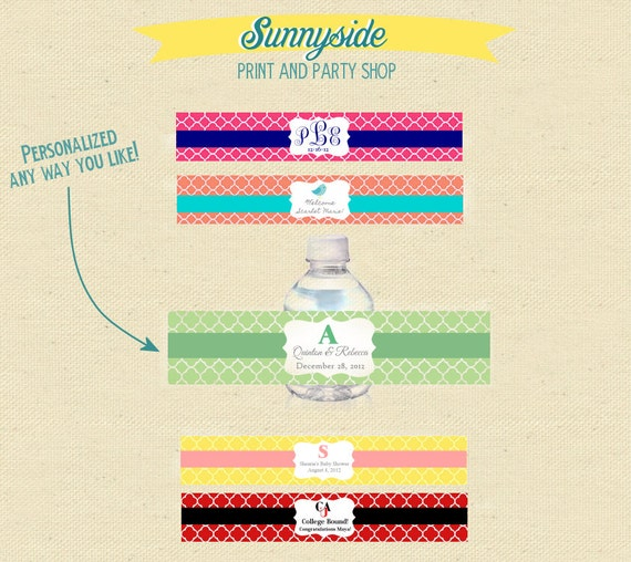 Printable Water Bottle Labels - Baby or Wedding Shower - You pick colors