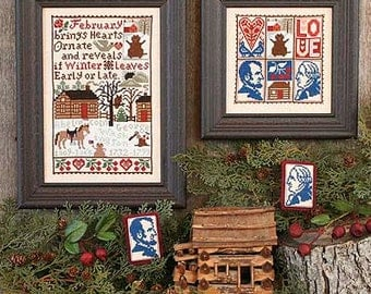 February Book No. 160 : Prairie Schooler cross stitch patterns Valentine's Day love counted hand embroidery