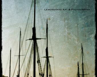 Ships Masts, Maine Photography, Fine Art Print, Textured, Black, Blue Sky, Dawn, Camden, Harbor, Coastal Wall Art, Nautical Home Decor