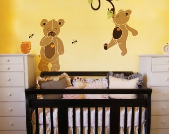 Teddy Bear Wall Stencils for Painting Bears in Baby Room Walls (stl1019)