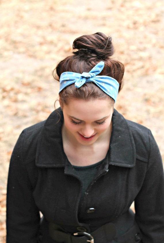 Vintage Bow Tie Head Scarf Women Tied Headband Stretch Back