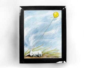 White Rabbit Print, Yellow Balloon Picture, Kids Wall Art, Windy Day, Cute Bunny Rabbit, Childrens Room Art