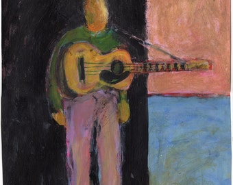Original Painting - 'With Guitar' by Peter Mack