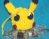 Pokemon Pouch Crochet Pikachu , Small Drawstring Pouch