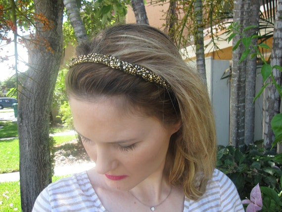 Black and Gold Chiffon Braid Elastic Headband, for weddings, parties, evening, special occasions