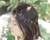 Pearl hair vine, wedding hair crown, Bridal halo, double head band, bride hair accessories, gold hair wreath, head wrap - JUSTINE