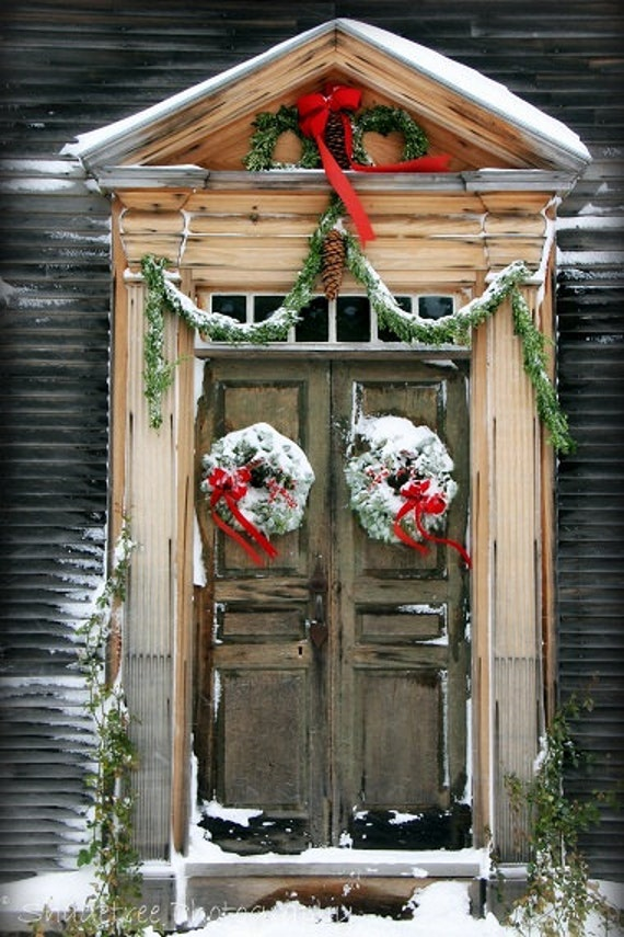 Rustic Door Doorway Colonial Christmas Snow Snowy Wreath Red Bow Holidays New England Natural Wood Vintage Feel, 8 x 12 Fine Art Print