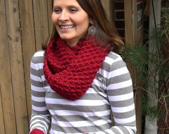 Knit Infinity Scarf / Matching Fingerless Gloves/ Knitted Mittens Free US Shipping