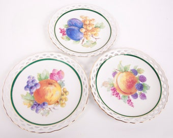 "Vintage Winterling Bavaria Plates Germany 61 Reticulated 7 1/2"" Set of 3 Hand Painted Porcelain"