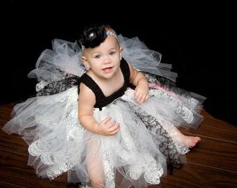 Tutu Dress Black & White Lace and RibbonTutu  Dress For Baby Girl Tutu Dress ToddlerTutu Dress Childs Tutu Dress Pageant Tutu Dress