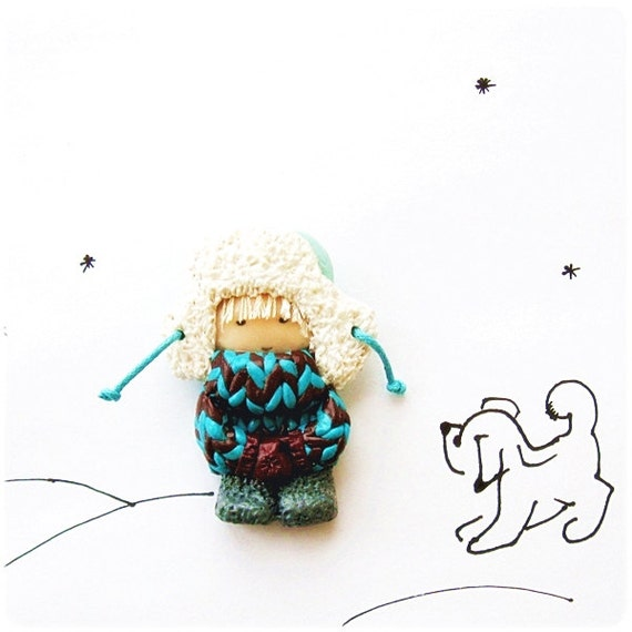 Cute Little Brooch Kawaii Christmas Gift for him Boy in fur hat and mittens