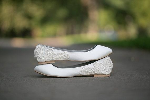 Wedding Flats - Ivory Wedding Flats/Wedding Shoes, Ivory Flats, Bridal Ballet Flats, Ivory Satin Flats with Ivory Lace. US Size 10