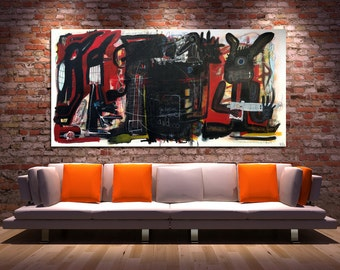 the curious case of our animals at midnight - Large Original Abstract Painting on Stretched Canvas