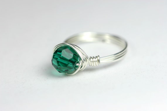 Emerald Ring Swarovski Ring Wire Wrapped Jewelry Sterling Silver Ring Rose Gold Ring Green Ring Swarovski Crystal Jewelry Yellow Gold
