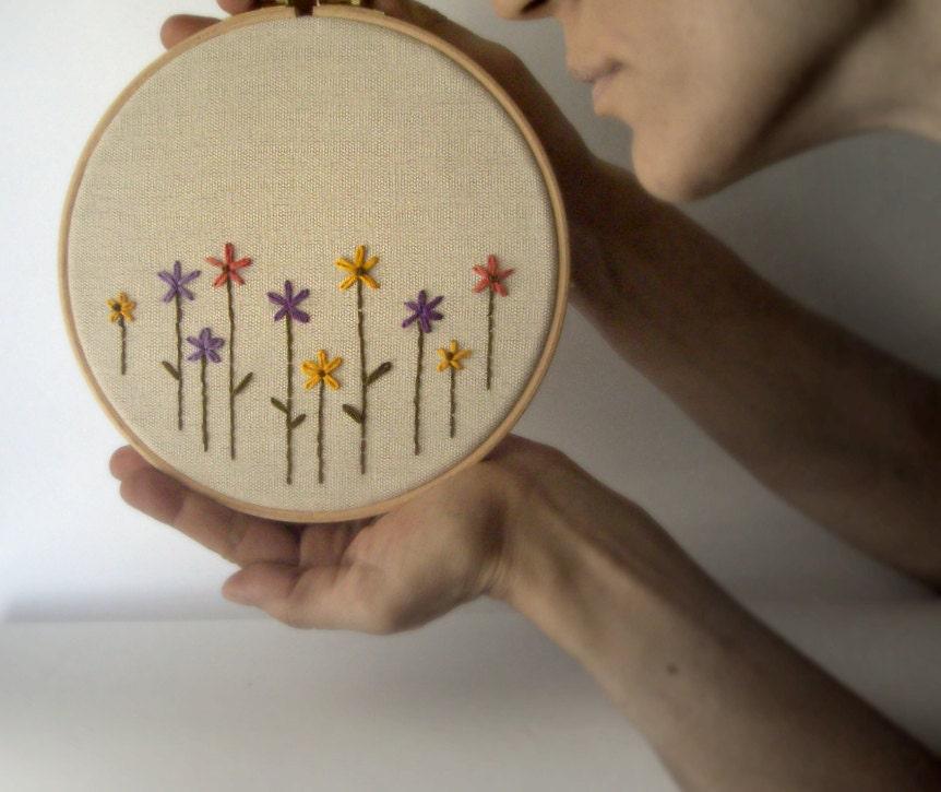 Hoop Art Hand Embroidery Flowershome Decorkids Room Decor