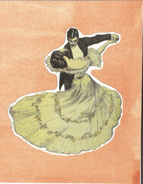 Blank note card. Dancing couple, tuxedo ballroom, waltzing, or tango, orange handpainted background, vintage bookpage style by River Spring