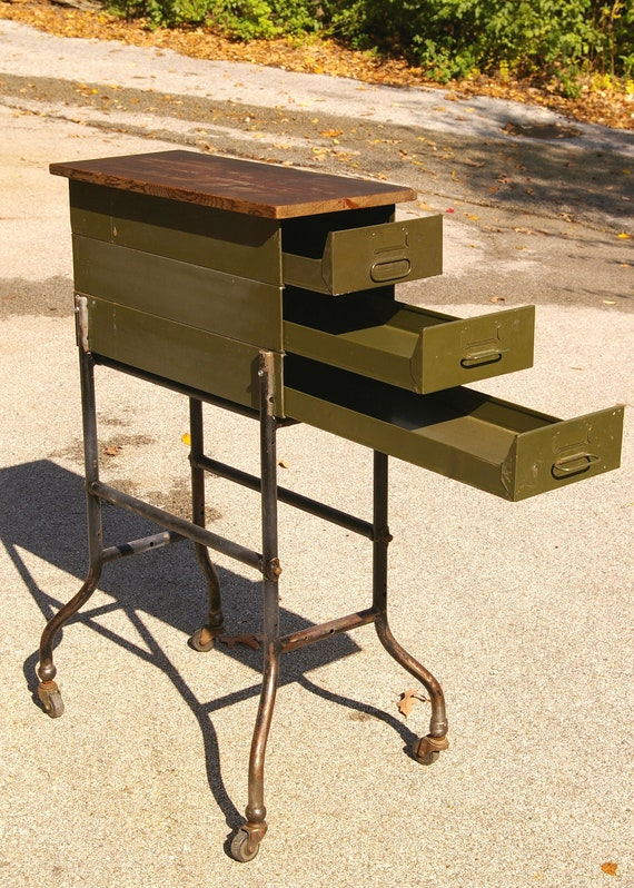 Tall skinny rolling metal end table with drawers industrial for Tall thin end tables