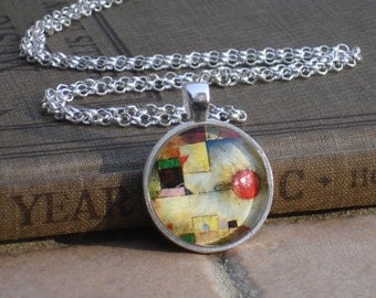 Silver Necklace Altered Art Pendant  - Paul Klee of YOUR CHOICE - with Silver Chain