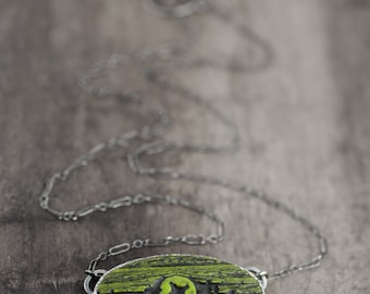 olive green woodgrain pendant with silver chain - cast resin green necklace with screw - industrial jewelry