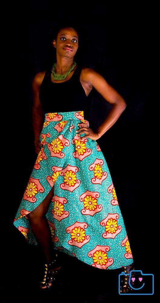maxi skirt ankara high waisted skirt by