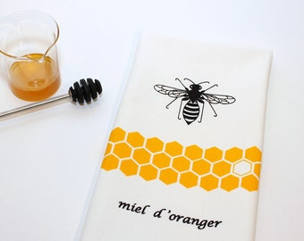 Tea Towel. Kitchen Towel. Hand Towel. Hand Screen Printed. Orange Blossom Honey Bee. 100% Cotton.