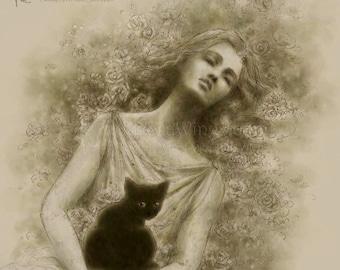 Free Shipping to US - Monochromatic Evocative Woman with Black Cat Fantasy Art - Dernier Lamento - 5x7 Signed Print - by Mitzi Sato-Wiuff